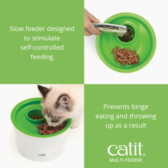 Catit Multi Feeder is a slow feeder designed to stimulate self-controlled feeding and prevents binge eating and throwing up as a result