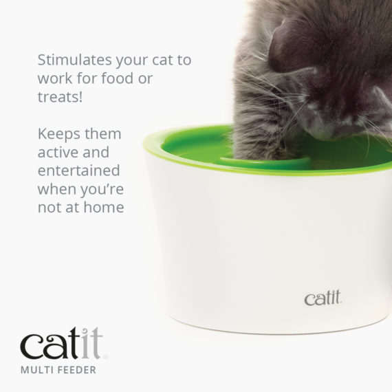 Catit Multi Feeder stimulates your cat to work for food or treats and keeps them active and entertained when you're not at home