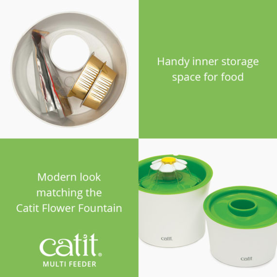 Catit Multi Feeder has a handy inner storage space for food and has a modern look matching the Catit Flower Fountain