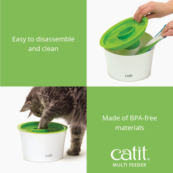 Catit Multi Feeder is easy to disassemble and clean and is made of BPA-free materials