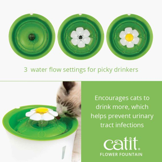 Catit Flower Fountain has 3 water flow settings for picky drinkers and encourages cats to drink more, which helps prevent urinary tract infections
