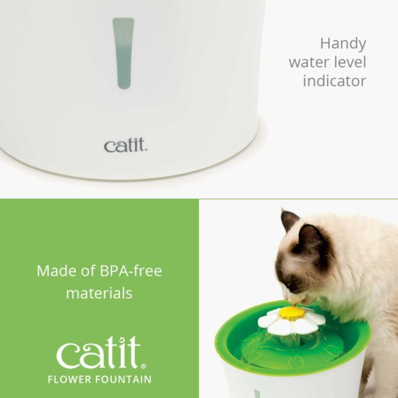 Catit Flower Fountain has a handy water level indicator and is made of BPA-free materials