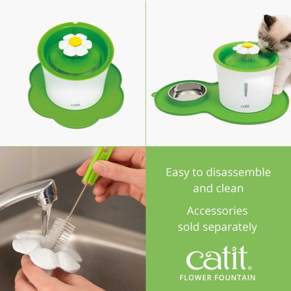 Catit Flower Fountain is easy to disassemble and clean and accessories are sold separately