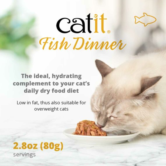 Catit Fish Dinner - The ideal, hydrating complement to your cat's daily dry food diet. Low in fat, thus also suitable for overweight cats