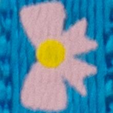Bleu avec boucles roses