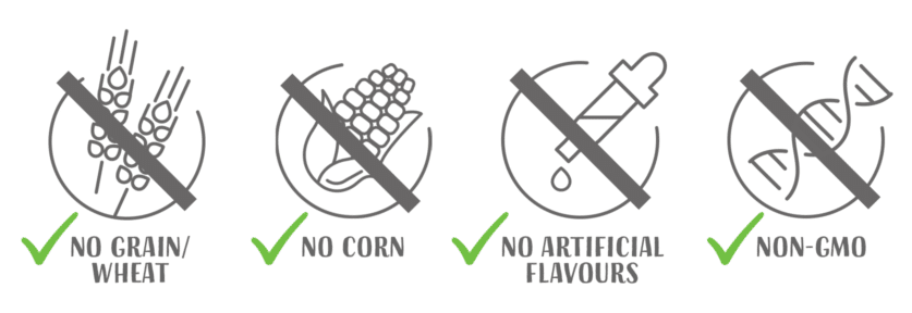 No grain wheat - no corn - no artificial flavours - non gmo