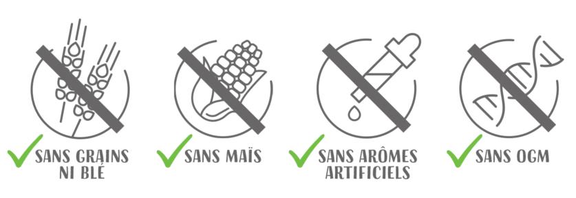 Sans grains ni ble - sans mais - sans aromes artificiels - sans ogm