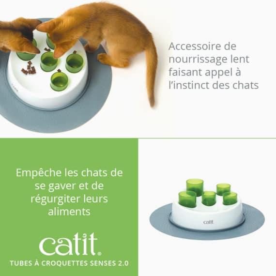 Tubes à croquettes Senses 2.0 - Accessoire de nourrissage lent faisant appel à l'instinct des chats. Empêche les chats de se gaver et de régurgiter leurs aliments