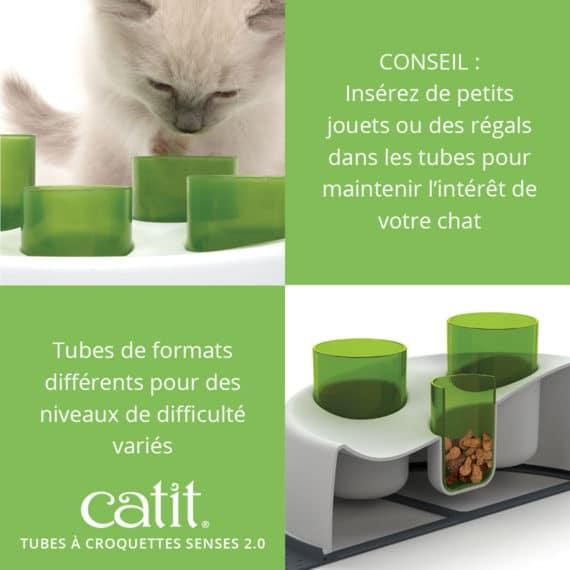 Tubes à croquettes Senses 2.0 - CONSEIL: Insérez de petits jouets ou des régals dans les tubes pour maintenir l'intérêt de votre chat. Tubes de formats différents pour des niveaux de difficulté variés