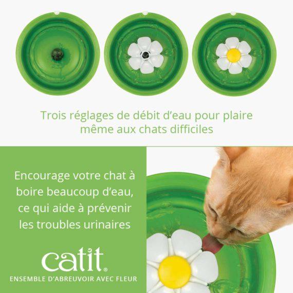 Ensemble d'abreuvoir avec fleur - Trois réglages de débit d'eau pour plaire même aux chats difficiles et encourage votre chat à boire beaucoup d'eau, ce qui aide à prévenir les troubles urinaires.