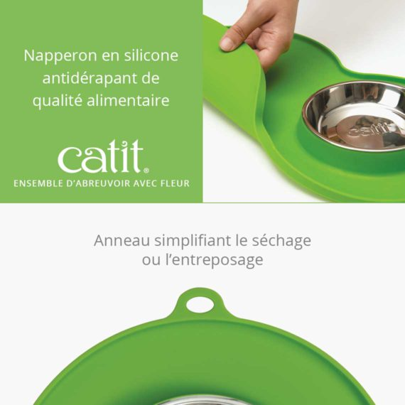 Ensemble d'abreuvoir avec fleur - Napperon en silicone antidérapant de qualité alimentaire et anneau simplifiant le séchage ou l'entreposage