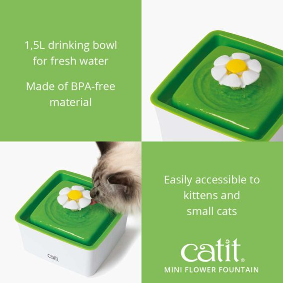 Catit Mini Flower Fountain is a 1,5L drinking bowl for fresh water made of BPA-free material and is easily accessible to kittens and small cats