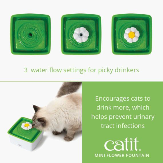 Catit Mini Flower Fountain has 3 water flow settings for picky drinkers and encourages cats to drink more, which helps prevent urinary tract infections