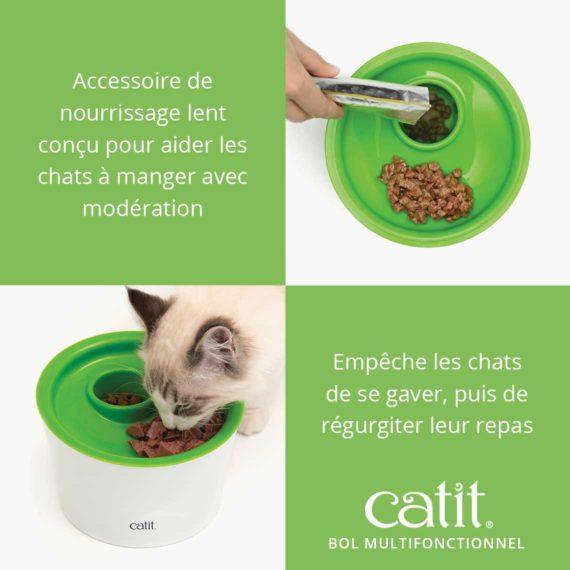 Catit Bol Multifonctionnel est un accessoire de nourrissage lent conçu pour aider les chats à manger avec moderation et empêche les chats de se gaver, puis de régurgiter leur repas.