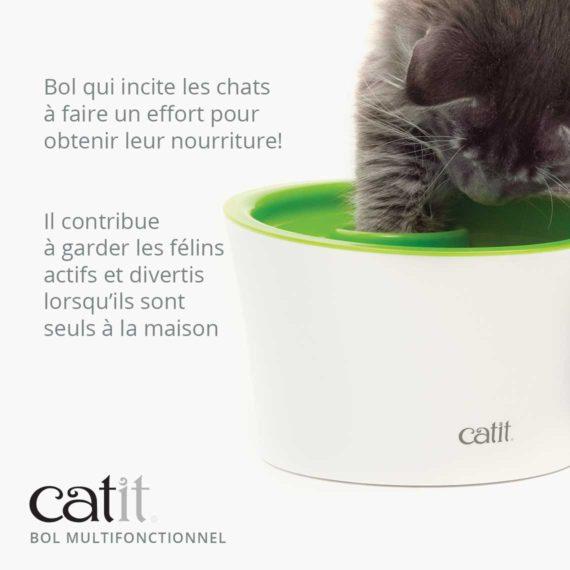 Catit Bol Multifonctionnel est un bol qui incite les chats à faire un effort pour obtenir leur nourriture et il contribue à garder les félins actifs et divertis lorsqu'ils sons seul à la maison