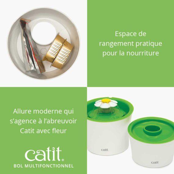 Catit Bol Multifonctionnel a espace de rangement pratique pour la nourriture et a une allure moderne qui s'agence à l'abreuvoir Catit avec fleur