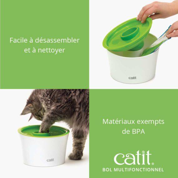 Catit Bol Multifonctionnel est facile à désassembler et à nettoyer et a materiaux exempts de BPA