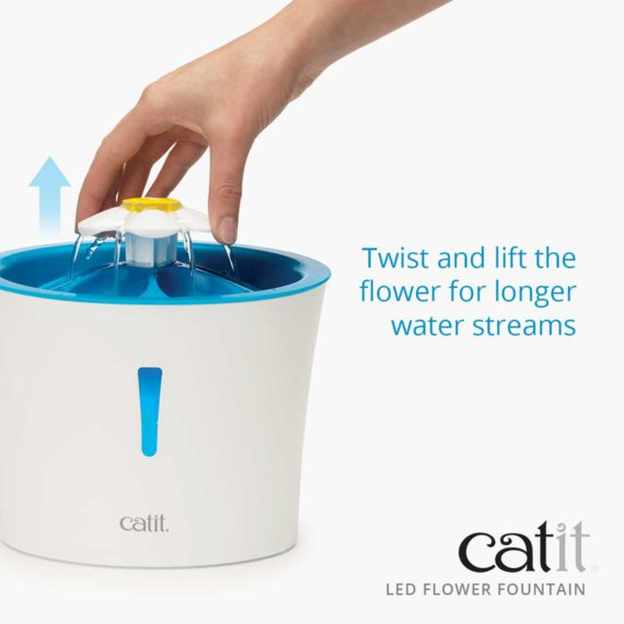 Twist and lift the flower for longer water streams