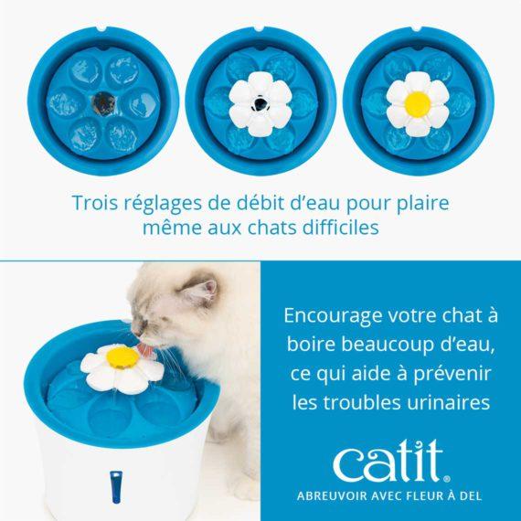 Abreuvoir avec fleur à DEL Catit - Trois réglages de débit d'eau pour plaire même aux chats difficiles et encourage votre chat à boire beaucoup d'eau, ce qui aide à prévenir les troubles urinaires
