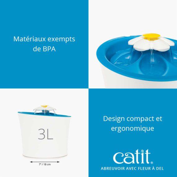 Abreuvoir avec fleur à DEL Catit - Matériaux exempts de BPA et design compact et ergonomique