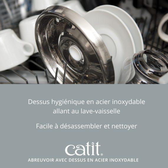 Abreuvoir avec dessus en acier inoxydable - Dessus hygiénique en acier inoxydable allant au lave-vaisselle et Facile à désassembler et nettoyer