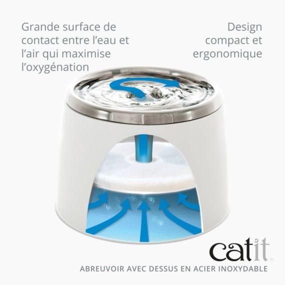 Abreuvoir avec dessus en acier inoxydable - Grande surface de contact entre l'eau et l'air qui maximise l'oxygénation et design compact et ergonomique