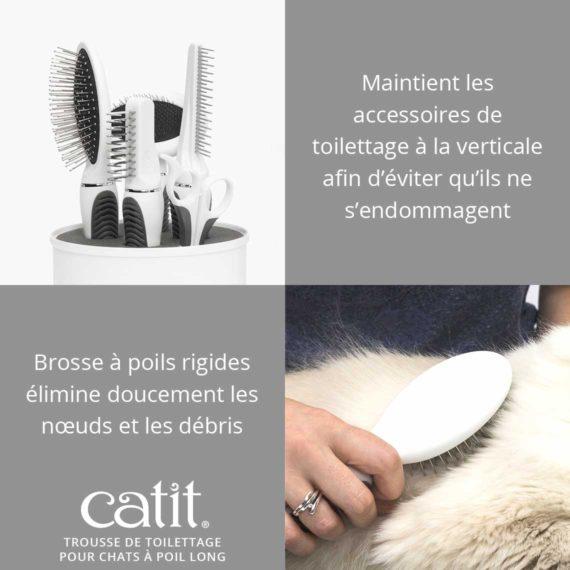 Trousse de toilettage pour chats à poil long Catit - Maintient les accessoires de toilettage à la verticale afin d'éviter qu'ils ne s'endommagent. Brosse à poils rigides élimine doucement les nœuds et les débris