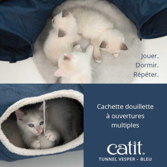 Tunnel Vesper Catit – Parfait pour jouer. Dormir. Répéter. Cachette douillette à ouvertures multiples