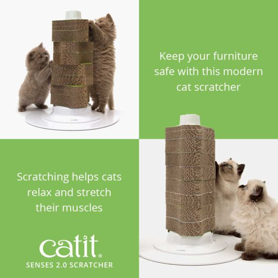 Catit Senses 2.0 Scratcher is a modern scratcher that keeps your furniture safe and helps cats relax and stretch their muscles