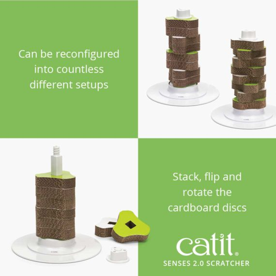 Catit Senses 2.0 Scratcher can be reconfigured into countless different setups, stack, flip and rotate the carboard discs