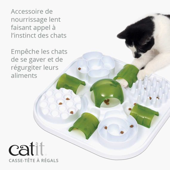 Casse-tête à régals - Accessoire de nourrissage lent faisant appel à l'instinct des chats et empêche les chats de se gaver et de régurgiter leurs aliments