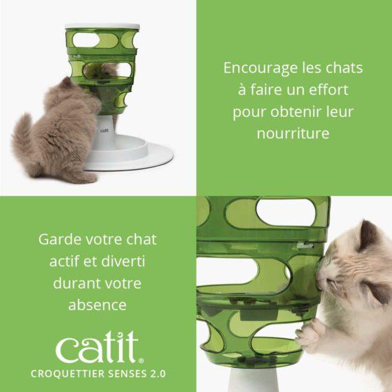 Croquettier Senses 2.0 – Encourage les chats à faire un effort pour obtenir leur nourriture et garde votre chat actif et diverti durant votre absence