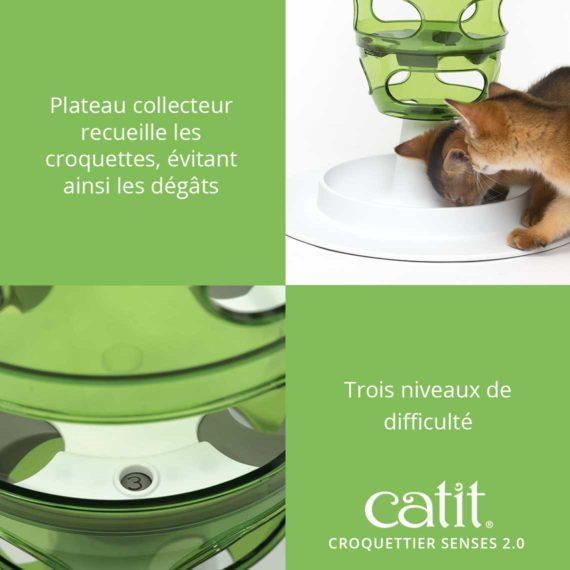 Croquettier Senses 2.0 – Plateau collecteur receuille les croquettes, évitant ainsi les dégâts. Trois niveaux de difficulté