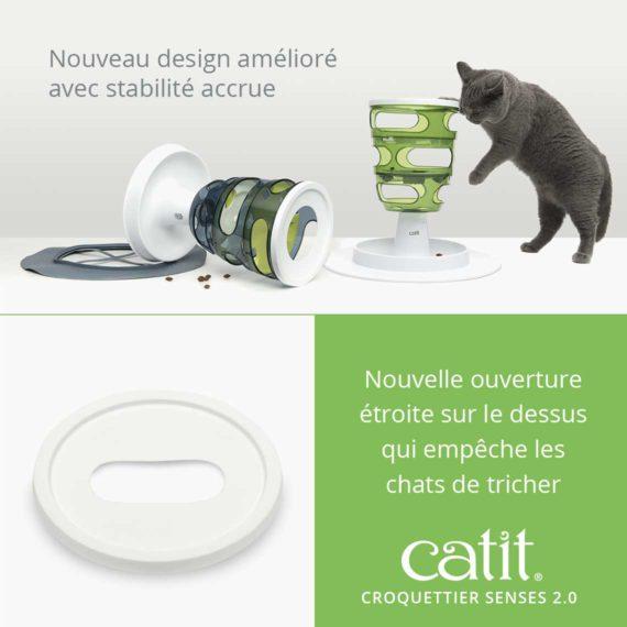Croquettier Senses 2.0 – Nouveau design amélioré avec stabilité accrue. Nouvelle ouverture étroite sur le dessus qui empêche les chats de tricher