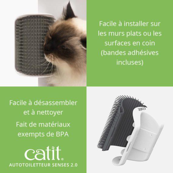 Autotoiletteur Senses 2.0 Catit est facile à installer sur les murs plats ou les surfaces en coin (bandes adhésives incluses). Facile à disassembler et à nettoyer et fait de matériaux exempts de BPA
