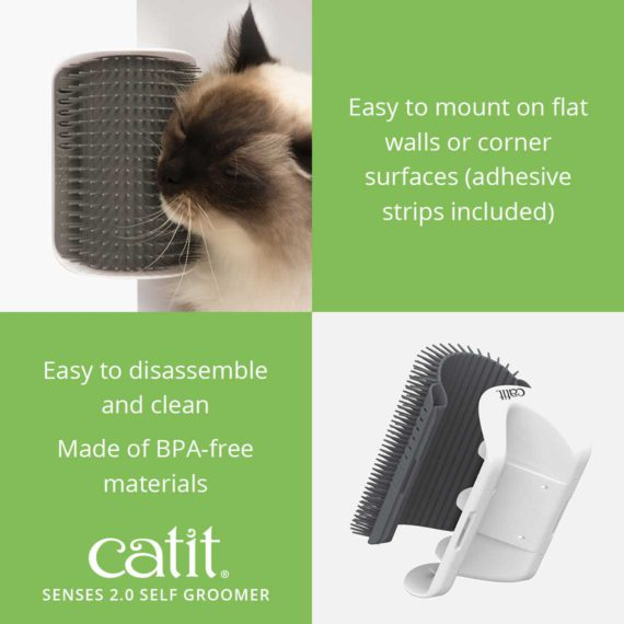 Catit Senses 2.0 Self Groomer is easy to mount on flat walls or corner surfaces (adhesive strips included). It is easy to disassemble and clean and is made of BPA-free materials