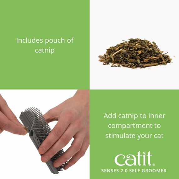 Catit Senses 2.0 Self Groomer includes pouch of catnip. Add catnip to inner compartment to stimulate your cat