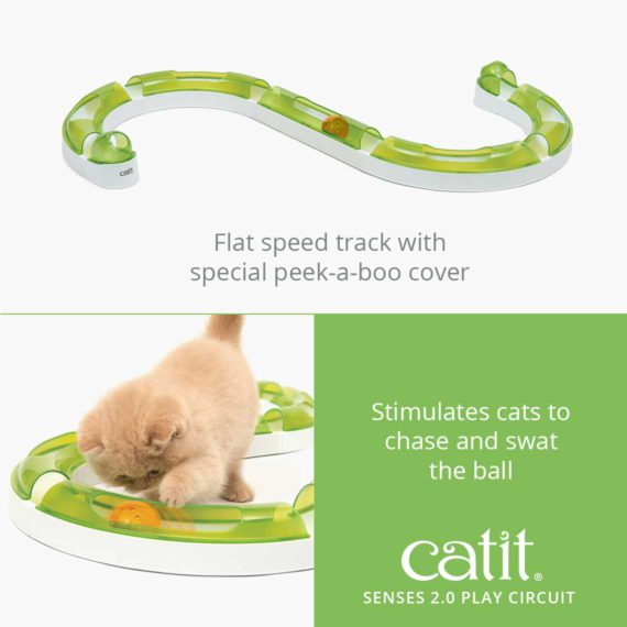 Senses 2.0 Play Center is a flat speed track with special peek-a-boo cover and stimulates cats to chase and swat the ball