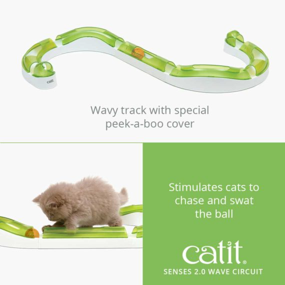 Catit Senses 2.0 Wave Center is a wavy track with special peek-a-boo cover that stimulates cats to chase and swat the ball