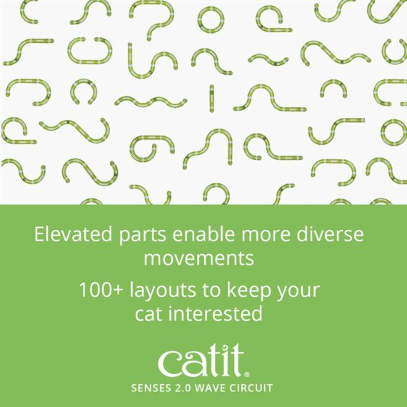 Catit Senses 2.0 Wave Circuit's elevated parts enable more diverse movements. 100+ layouts to keep your cat interested