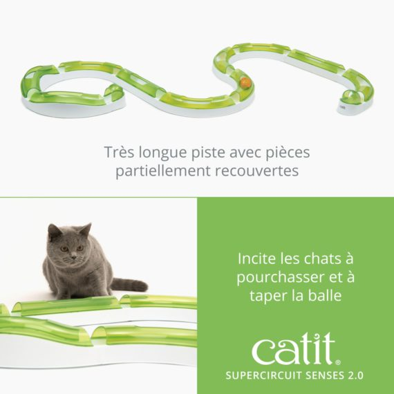 Supercircuit Senses 2.0 Catit est une très longue piste avec pièces partiellement recouvertes et incite les chats à pourchasser et à taper la balle