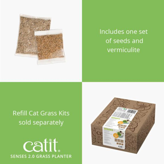 Senses 2.0 Grass Planter includes one set of seeds and vermiculite, refill Cat Grass Kits are sold separately