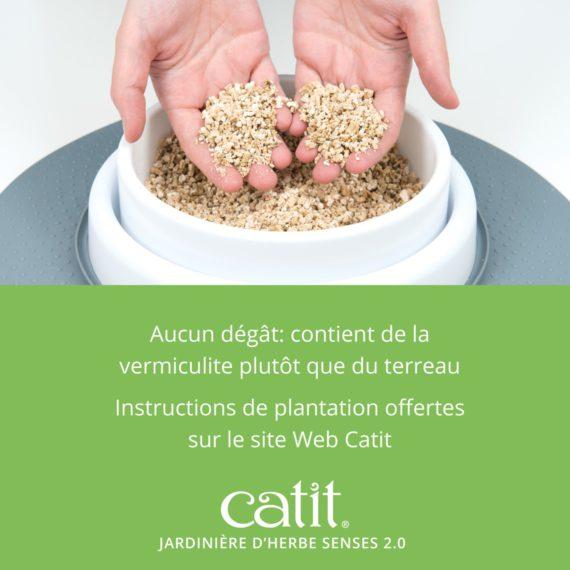 Jardinière d'herbe Senses 2.0 – Aucun dégât: contient de la vermiculite plutôt que du terreau. Instructions de plantation offertes sur le site Web Catit