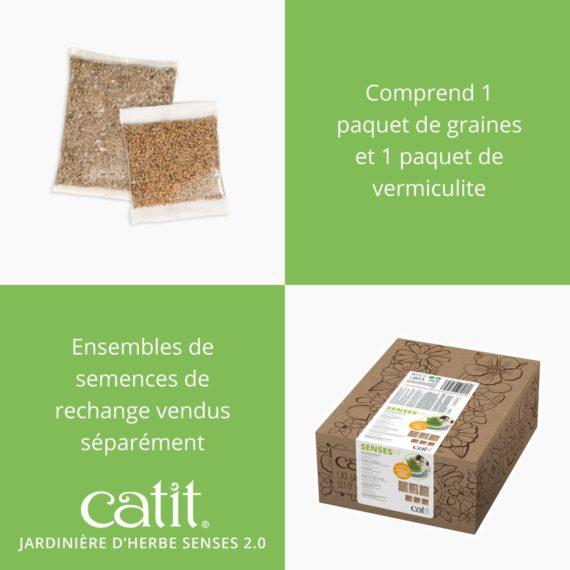 Jardinière d'herbe Senses 2.0 comprend 1 paquet de grains et 1 paquets de vermiculite, ensembles de semences de rechange vendus séparément