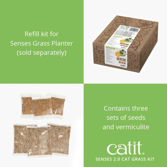 Senses 2.0 Cat Grass Kit is a refill kit for Senses Grass Planter (sold separately) and contains three sets of seeds and vermiculite