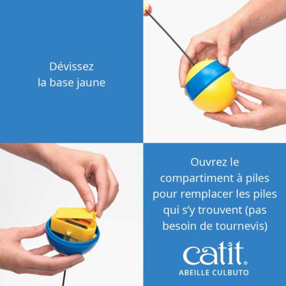 Abeille culbuto Catit - Dévissez la base jaune et ouvrez le compartiment à piles pour remplacer les piles qui s'y trouvent (pas besoin de tournevis)