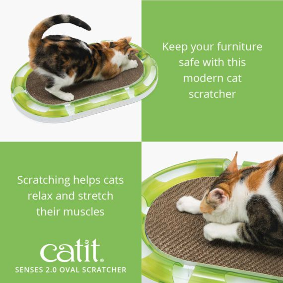 Senses 2.0 Oval Scratcher is a modern cat scratcher that keeps your furniture safe and scratching helps cats relax and stretch their muscles