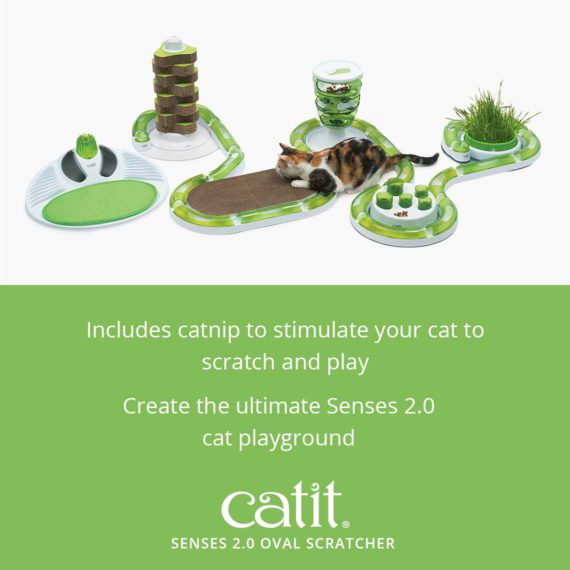 Senses 2.0 Oval Scratcher includes catnip to stimulate your cat to scratch and play. Create the ultimate Senses 2.0 cat playground with the Senses 2.0 Oval Scratcher