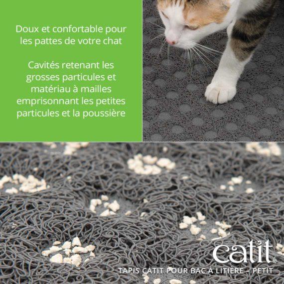 Tapis Catit Pour Bac à Litière – Doux et confortable pour les pattes de votre chat. Cavités retenant les grosses particules et matériau à mailles emprisonnant les petites particules et la poussière