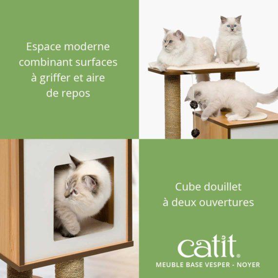 Meuble Base Vesper Catit - Espace moderne combinant surfaces à griffer et aire de repos et cube douillet à deux ouvertures